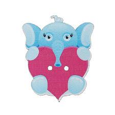 20 Botones Madera Elefante & Corazón Costura 32 X 26mm, Manualidades Scrapbook