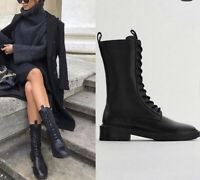 ZARA LACE-UP FLAT LEATHER ANKLE BOOTS SIZE UK 7 EU 40 Sold Out Bloggers BNWT