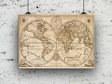VINTAGE  MARITIME WORLD MAP PRINT 280GSM SATIN HOME BEDROOM STUDY A4 EDUCATIONAL
