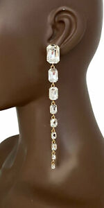 """5.5"""" Long Clear Crystals Statement Evening Linear Earrings  Bridal, Pageant Prom"""