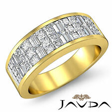 Princess Baguette Invisible Set Diamond Ring Wedding Band 14k Yellow Gold 1.5Ct
