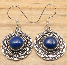Earrings ! Silver Plated Art Jewelry Original Lapis Lazuli Gemstone French Wire