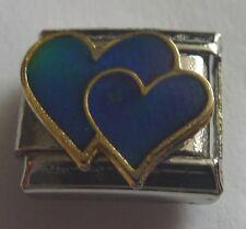 Italian Charm DOUBLE HEART MOOD STONE fits 9mm Starter Bracelets Moodstone Love