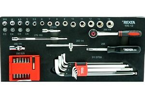 "REXTA Kit 58 Tools Sockets And Accessories From 1/4 "" for Workshop Mechanic Car"