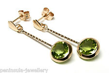 9ct Gold Peridot Round Drop Earrings Gift Boxed Made in UK