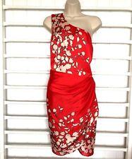 Oasis Kleid Größe 16 One Strap Orientalischer Stil Rot Blumen Hochzeit Party * NEU *
