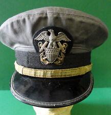 NAVAL OFFICERS VISOR CAP- RARE GRAY COLOR-STERLING BADGE