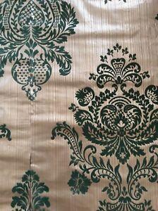 Vintage Damask Green & Gold luxury flocked wallpaper