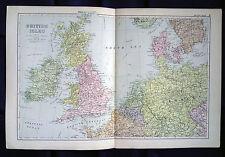 Isole BRITANNICHE + parti di accettare l'Europa, anni 1890, CANCELLO Piega Carta Da Bacon'S ATLAS