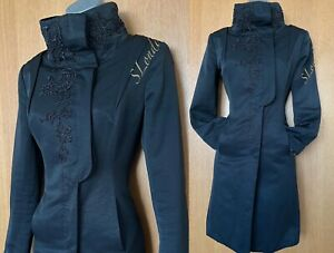 Karen Millen UK 10 Black Beaded Tailored Casual Trench Coat Mack Jacket EU 38