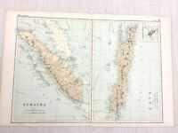 1892 Antik Map Of Java Und Sumatra Batavia Original 19th Jahrhundert G W Bacon