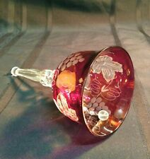 """7 1/2"""" Cut to Clear Glass Bell Cranberry - A"""
