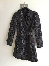 Ladies new M&S Black & White Polka Dot Spot Ladies Mac Rain Ladies Coat S8 Retro