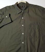 Ike by Ike Behar Men Long Sleeve Button Up Shirt Big 2XL 18 34 Dark Green Pocket