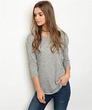 Womens Size Small Grey Top 3/4 Sleeve summer Fashion Soft Jersey Stylish Looks