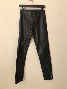 RARE VTG 80s 90s L.A. ROXX  Black Leather Lace Up Men's Pants Zip Ankle Lined 28