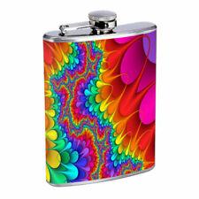 Groovy Rainbow Em1 Flask 8oz Stainless Steel Hip Drinking Whiskey
