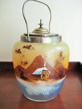 VINTAGE BISCUIT BARREL JAR ASIAN LANDSCAPE HAND PAINTED GLASS