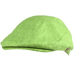 Men's Summer 100% Linen Snap Front Flat Golf Ivy Driver Cabby Cap Hat Olive L/XL