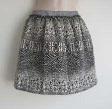 NWT ZARA Girls Stretch Metallic Waist Black Ivory Knit Mini Skirt - Size 13-14