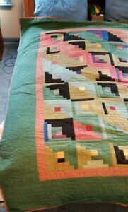 JUDI BOISSON Log Cabin Geometric Patchwork Quilt King/Queen87x67 Vintage RARE