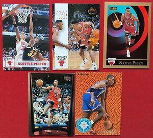 Lot de 5 Cartes Basketball NBA Scottie Pippen Chicago Bulls