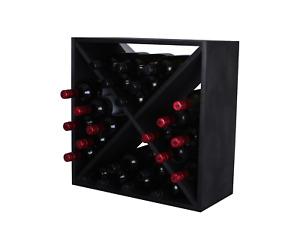 24 Bottle Wine Rack Cube - Flat Pack - Matt Black - Free Delivery
