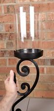 Pottery Barn Architectural Wall Mount Hurricane Pillar Candle Holder Iron Black