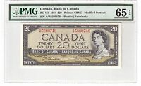 "Canada $20 Dollars Banknote 1954 BC-41b PMG Gem UNC 65 EPQ ""A/W Prefix"""