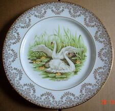 Fine Bone China England Large Collectors Plate MUTE SWANS