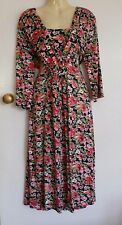 POMODORO pink floral ruched stretchy jersey dress sz 18