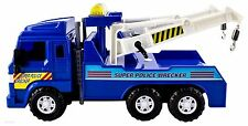 Big-Daddy Friction Powered Super Police Wrecker Tow Truck Blue Action Work Toy