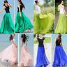 Women Summer Double Layer Chiffon Pleated Long Maxi Dress Elastic Waist Skirt GL