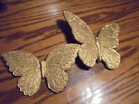 Vtg 1970's Lot (2)  Home Interior GOLD BUTTERFLY WALL Plaques #7040/7041   80/94
