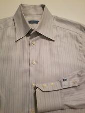 ETON of Sweeden Mens 16 41 Long Sleeve White Striped Herringbone Dress Shirt