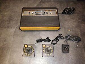 Atari 2600 Woodgrain 4 Switch System Joysticks, Games!! TESTED!!