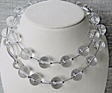 """Natural 14 mm Rock Crystal Sterling Silver 28"""" Long Necklace"""