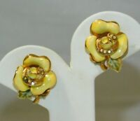 Coro Vintage Yellow Enamel Rhinestone Flower Gold t Clip On Earrings 11e 99