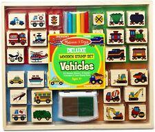 Melissa & Doug Deluxe Wooden Stamp Set-Vehicles