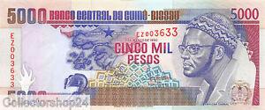 Guinea-Bissau 5000 Pesos 1990 Pr / Vf pn 14a