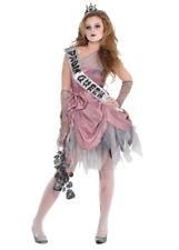 Girls Halloween Teen Pink Zombie Prom Queen Costume