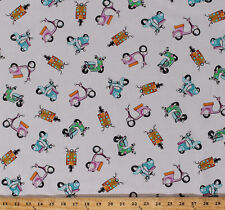 Motor Scooters Mini Bikes Mopeds Vehicles Cream Cotton Fabric Print BTY D683.34