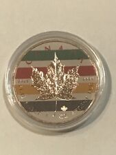 Canada 2017 5$ Maple Leaf II Colored Stripes 1Oz 9999 Silver Rose Gilded Coin