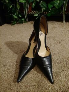 Women's Sexy Shoes Size 6M by Carlos Santana Pointy Toe Black Leather Pumps❤❤❤