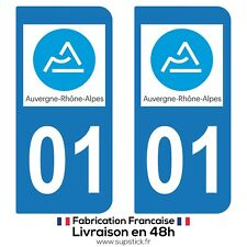 2 STICKERS AUTOCOLLANT PLAQUE IMMATRICULATION DEPT 01 AUVERGNE-Rhône-Alpes
