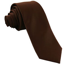 """New Polyester Men's 2.5"""" skinny Neck Tie only solid formal wedding prom brown"""