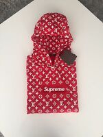 Supreme x Louis Vuitton LV Hoodie Red Box Logo Sweater Size 4L NWT DS Limited