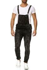 Pantalones vaqueros Pantalón con peto Slim Fit Destruido Usado Denim Ripped Tubo