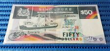 Singapore Ship Series $50 Note D/19 591878 Dollar Banknote Currency
