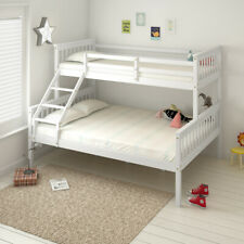Solid Pine Wood Triple 3 Sleeper Bunk Bed Frame Bedroom Slatted Bedstead White